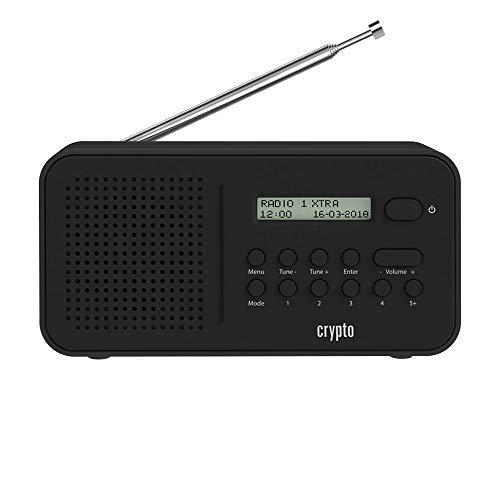 Crypto ReDi DB100 DAB/DAB + digitale e FM radio portatile, memoria per 40 DAB e 40 FM stazioni radio, schermo LCD, altoparlante incorporato, uscita ausiliaria, batteria 4xAA o USB alimentato (nero)