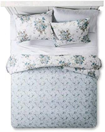 Simply Shabby Chic Aqua Blue Rose Floral Duvet Cover Sham Set Reversible Twin Home Kitchen