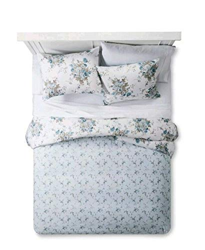 (Simply Shabby Chic Aqua Blue Rose Floral Duvet Cover Sham Set Reversible Twin)