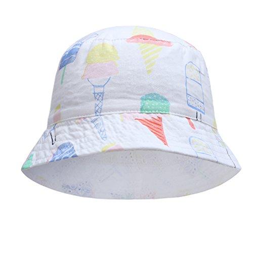 Baby Girl Reversible hat Toddler boy Girl Ice Cream Bucket Hats Ice 0-6 (45cm(Head Circumference 17.7in)