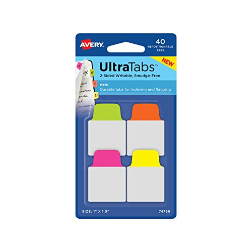 "Discount Avery Mini Ultra Tabs, 1"" x 1.5"", 40 Repositionable Tabs, Two-Side Writable, Neon Pink/Yellow/Green (74759) supplier"