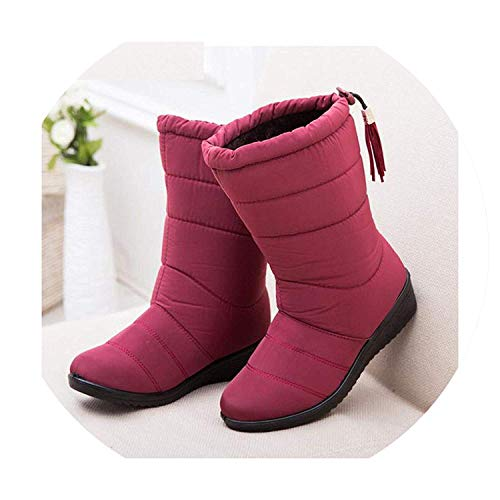 High end Women Boots Female Down Winter Boots Waterproof Warm Girls Ankle Snow Boots Ladies Shoes,8.5M,Red