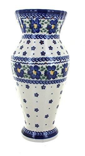 Blue Rose Polish Pottery Spring Blossom Tall Vase