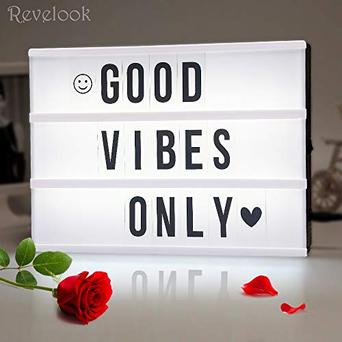 Light up Box Sign with Letters - A4 Size DIY Decorative Cinema Symbol, Fun Message Board for Girls Birthday Back to School College Dorm Room Decoration, Halloween Thanksgiving Christmas Decor Gift