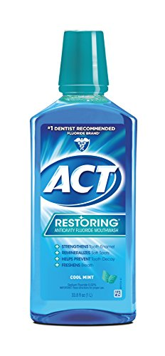 ACT Restoring Mouthwash, Cool Splash Mint, 33.8 Ounce Bottles (Pack of 3), Anticavity Fluoride Mouthwash Helps Support Tooth Enamel and Oral Health to Help Prevent Tooth Decay and Cavities (Best Mouthwash For Enamel)