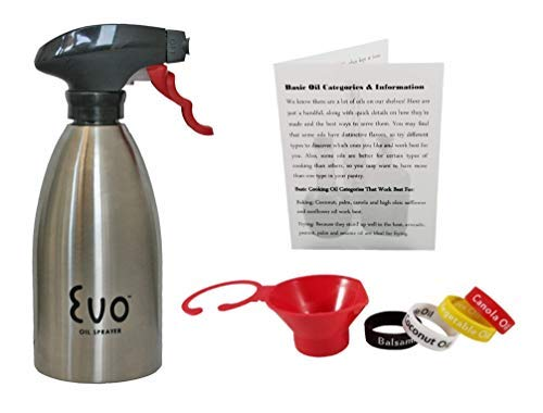 Stainless Steel Oil Sprayer For Cooking, Evo 16 Ounce Reusable Refillable For The Kitchen BBQ With Funnel, Identification Bands And Informational Card. by EVO