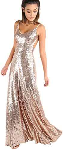 61eaaf4ab16 YARIVI Women s V Neck Backless Evening Gowns Sequin A Line Cocktail Prom  Dresses