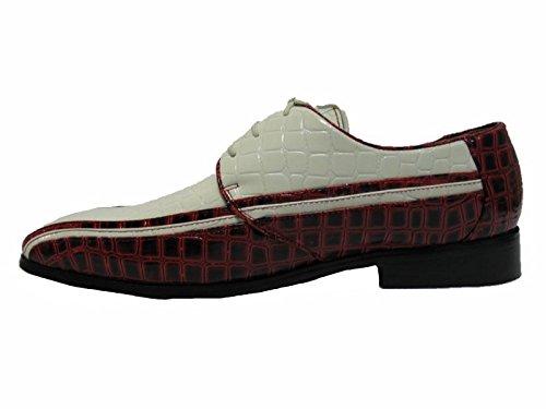 Chaussures De Mariage Smoking, Oxford Hommes Chaussures Vito Rouge / Blanc Par Nanotech