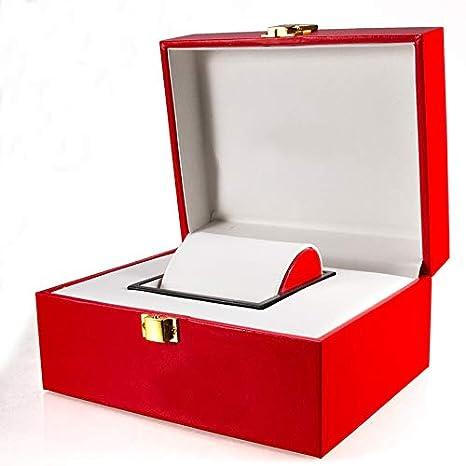 ROUHO Caja De Reloj De Cuero Rojo Caja De Almacenamiento ...