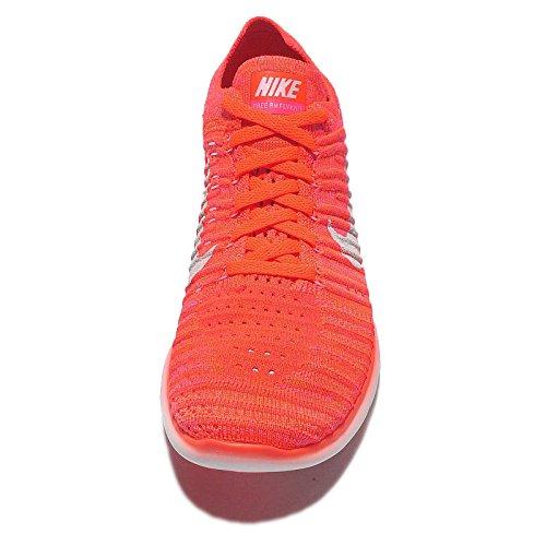 Nike Womens Free Running Motion Scarpe Flyknit, Iper Arancio / Bianco-totale Cremisi - 12 B (m) Us