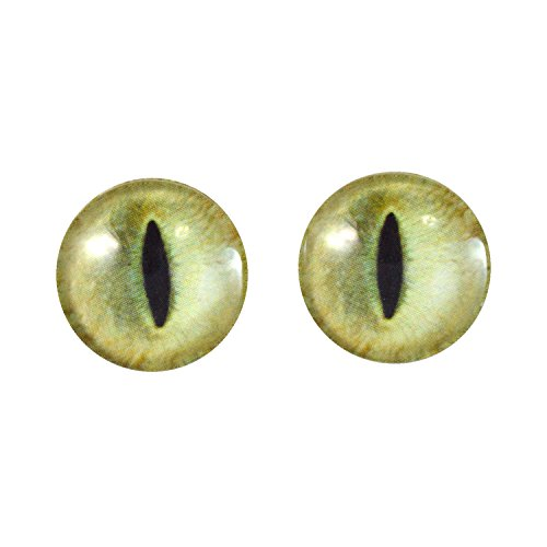20mm Pale Yellow Cat Glass Eyes Fantasy Taxidermy Art Doll Making or Jewelry Crafts Set of 2 -