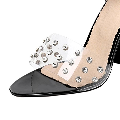 SJJH Sexy Sandals with High Chunky Heel and Transparent Materail for Fashion Women Black aBUGFTOoCl