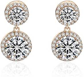 Akvode Women's White Round AAA CZ Gold Filled Earrings for Wedding Day Gifts