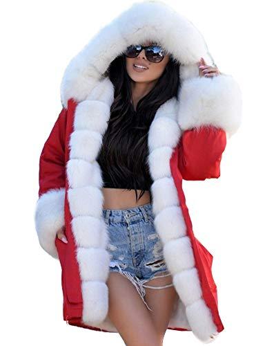 (Aofur Womens Hooded Faux Fur Lined Warm Coats Parkas Anoraks Outwear Winter Long Jackets (Medium, Red_White Fur))