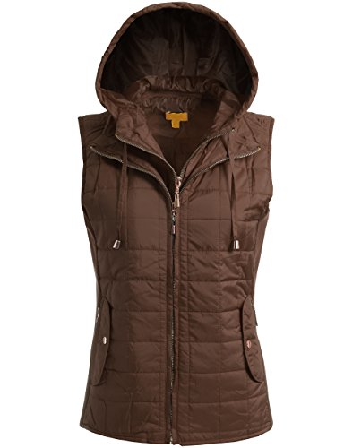 BEKDO Womens Classic Lightweight Solid Quilted Zip Up Vest -L-Mocha