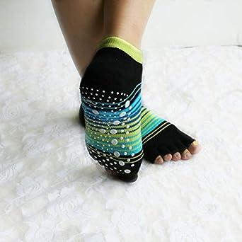 ERCZYO Mujer Damas Raya Cinco Dedos Calcetines de Yoga Bare ...