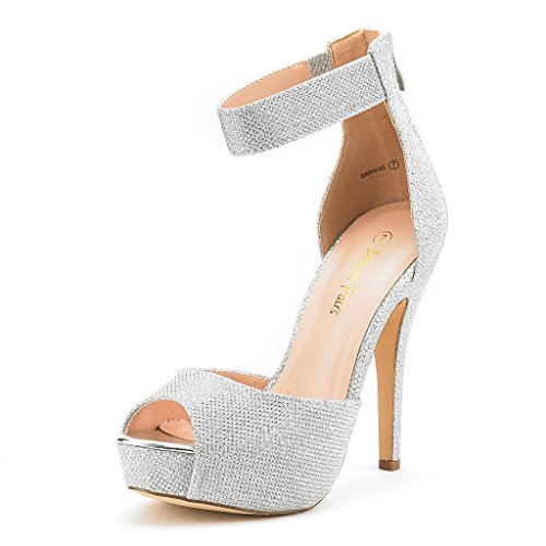DREAM PAIRS SWAN-05 New Women's Ankle Strap Back Zipper Peep Toe High Heel Platform Pump Shoes,Silver Glitter,5 B(M) US