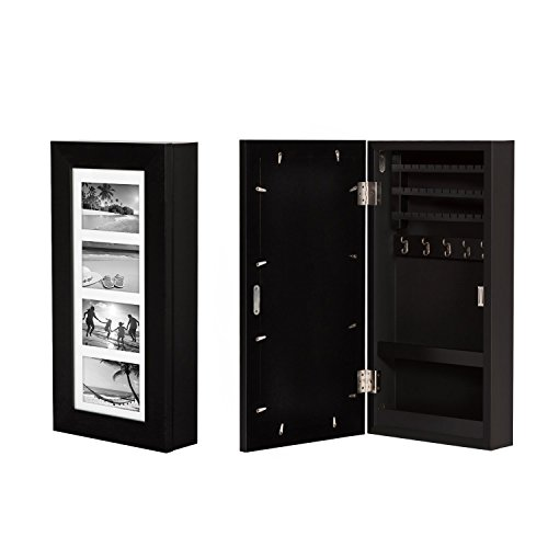 Kinbor Wall Mounted Jewelry Armoire Cabinet Organizer Storage w/4 Picture Frames Black by kinbor
