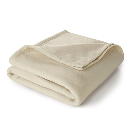 Martex Super Soft Fleece Blanket - Full/Queen, Warm, Lightweight, Pet-Friendly, Throw for Home Bed, Sofa & Dorm - Ivory - Martex Ivory Soft Blanket
