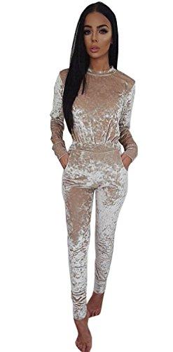 Longwu Pleuche Women Long Sleeve Rompers Jumpsuit Bodycon Trousers Clubwear Khaki-XL