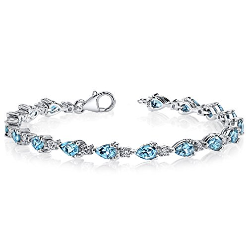(London Blue Topaz Bracelet Sterling Silver Pear Shape 6.75 Carats)