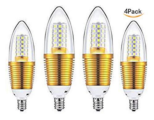 CTKcom 12W E14 LED Bulbs Candelabra LED Light Bulbs(4 Pack)- 85-100W Light Bulbs Equivalent,Warm White 3000K LED Chandelier Bulbs,E14 Candle Light Torpedo Shape,AC110V 1200LM LED Lights Bright White