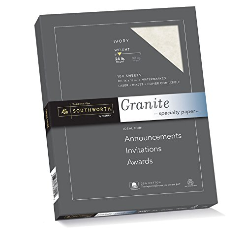 "Southworth 25% Cotton Granite Specialty Paper, 8.5"" x 11"", 24 lb/90 gsm, Ivory, 100 Sheets (P934CK) by Southworth"