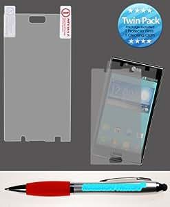 Accessory Factory(TM) Bundle (Phone , 2in1 Stylus Point Pen) LG US730 Splendor Venice L86c Optimus Showtime Screen Protector Twin Pack Guard Phone LCD