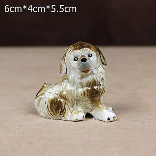 ZAMTAC Porcelain Tibetan Mastiff Miniature Ceramics Puppy Dog Figurine Fairy Garden Novelty Decor Art and Craft Ornament Accessories - (Color: Style I, Size: S)