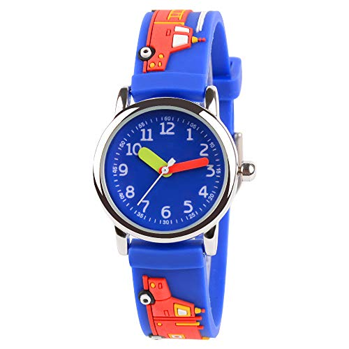(Venhoo Kids Watches Cute 3D Cartoon Waterproof Silicone Children Toddler Wrist Watch Time Teacher Birthday Gift 3-10 Year Boys Girls Little Child-Blue Fire Truck )