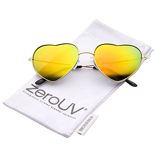 zeroUV - Small Thin Metal Frame Temples Colored Mirror Lens Heart Sunglasses 52mm (Gold / Orange - Heart Shaped Sunglasses Mirror