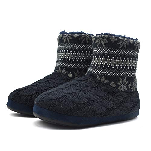 GPOS Mens Woolen Knit Slipper Booties Cozy Faux Fur Lined House Indoor Ankle Boot Anti Slip Black-Grey (Best Warm Rubber Boots)