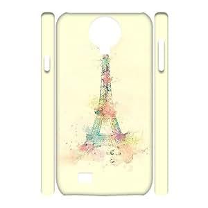 3D Samsung Galaxy S4 Case Eiffel Tower Watercolor Paint, Samsung Galaxy S4 Case Eiffel Tower Unique For Guys, [White]