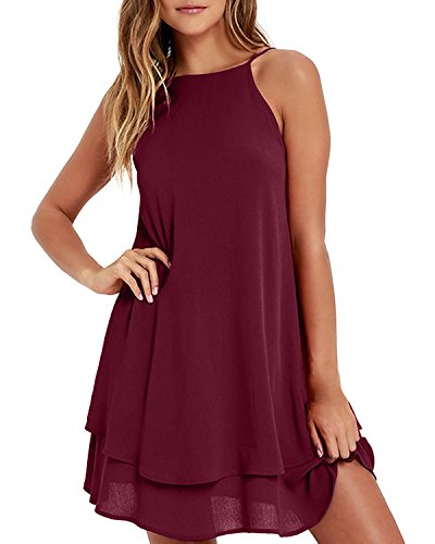 ZANZEA Womens Flowy Cami Dress Sexy Summer Beach Sundress Chiffon Spaghetti Strap Mini Short Dress Causal Wine Red M