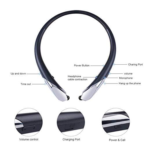 Joyphy Bluetooth Retractable Headphones, Wireless Neckband Headset Noise Cancelling Stereo Earbuds Sports Earphones with Mic for iPhone Android (Black) by Joyphy (Image #3)