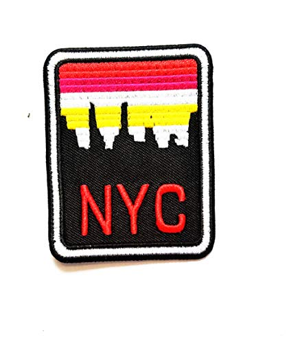 Nipitshop Patches NYC New York City Cartoon Patch Words Joyful Motorcycle Biker Patch Embroidered Iron On Patch for Clothes Backpacks T-Shirt Jeans Skirt Vests Scarf Hat Bag