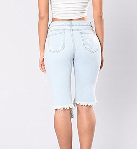 FAROOT Women Casual Denim Ripped Hole Destroyed Distressed Short Jeans Shorts (2XL, Light Blue) by FAROOT (Image #1)