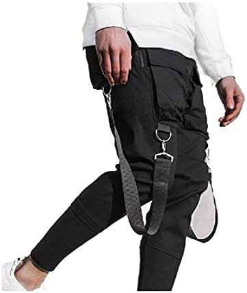 Kankanluck Men's Multi-Pockets Long Pants Splice Sports Pants for Fitness