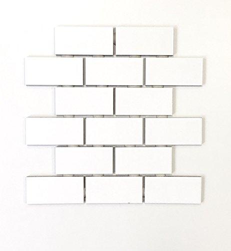 2x4 White Subway Ceramic Tile Kitchen Backsplash Bathroom (1 sheet)