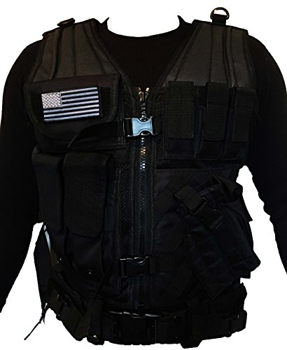 RECON GEAR MOLLE XL TACTICAL VEST with TACTICAL BELT & CROSS DRAW HOLSTER FREE USA FLAG PATCH (XL Stealth Black)