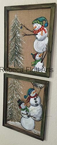 Snowmen on burlap, snowman, winter art, outside decor, recycled, up-cycled, window screen, screen art, hand painted, handmade by RebecaFlottArts