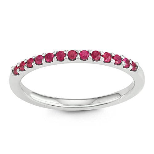 14K White Gold 1.04 Tgw. Ruby July Birthstone Stackable 2MM Band Ring