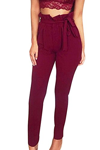 COCOLEGGINGS Ladies High Waist Belted Harem Pencil Pants with Pockets Ruby XL
