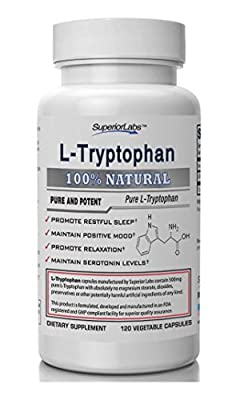 Superior Labs L-Tryptophan Pure and Potent Dietary Supplement, 120-Vegetable Capsules