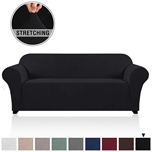 1 Piece High Stretch Sofa Cover for 3 Cushion Couch Soft Spandex Form Fit Slip Resistant Stylish Furniture Protector with Elastic Bottom Sofa Slip Cover Protector (Sofa, Black)