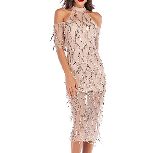 Women Sexy Off Shoulder Halter Sequin Tassel Short Sleeve Sheer Split Fancy Cocktail Party Maxi Dress -