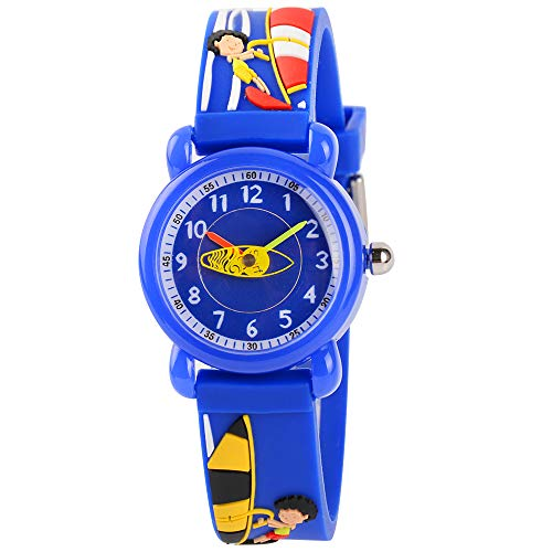 Venhoo Kids Watches 3D Cute Cartoon Waterproof Sport Silicone Children Toddler Wrist Watch Time Teacher Birthday Gift for 3-10 Year Boys Girls Little Child (Surfing Boy Blue)