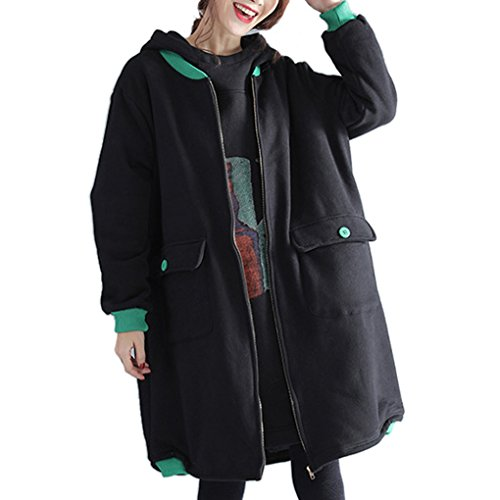YunPeng Womens Diverse Large Size Thickening Loose Jacket Coat Trench Coat Black3