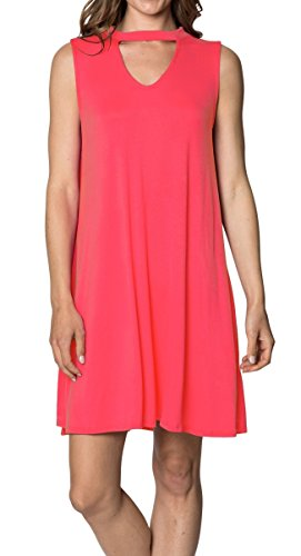 Velucci Swing Dress For Women - Womens Tunic Sleeveless Tank Summer Dresses (Coral-XL) - Coral Halter Dress