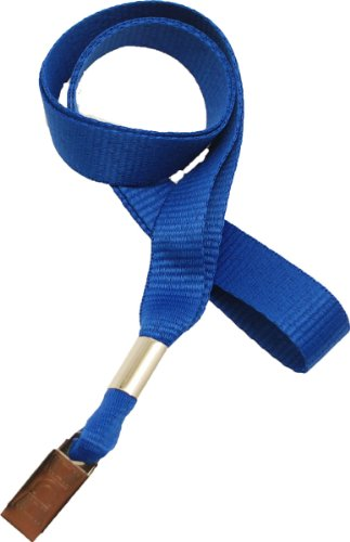 Royal Microweave Lanyard - Royal Blue Lanyard, flat MicroWeave ribbed poliester, non break-away, Bulldog Clip, 5/8
